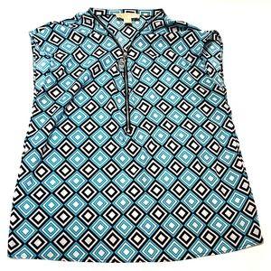 Michael Kors Diamond Pattern Zipper Front Shirt